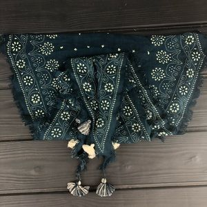 Blue/cream Tassel Scarf by Madewell